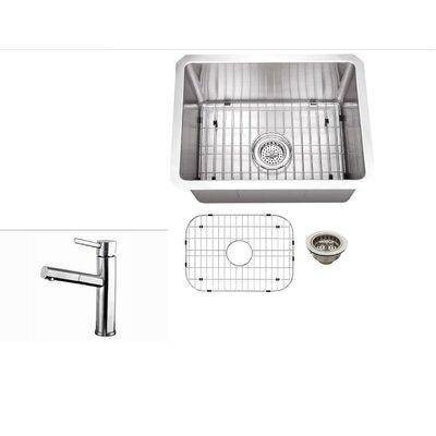15 x 20 Stainless Steel 16 Gauge Zero Radius Single Bowl Bar Sink with Faucet