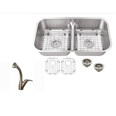 30.25 x 16.77 Double Bowl Kitchen Sink with Faucet