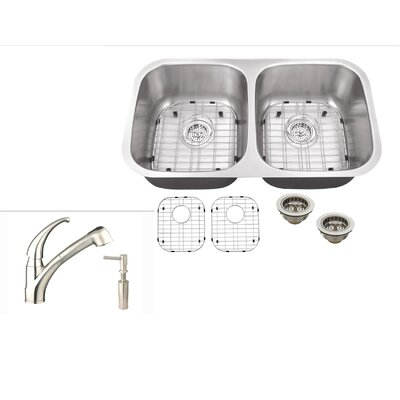 30 x 16.5 Double Bowl Kitchen Sink with Faucet