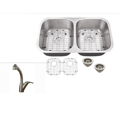 30 x 16.5 Double Bowl Undermount Kitchen Sink with Faucet