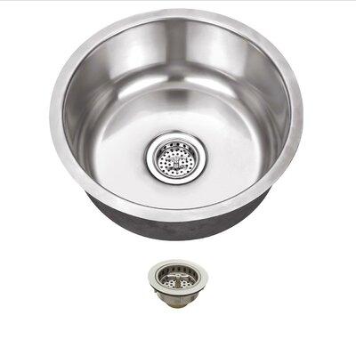 17.13 x 17.13 Stainless Steel 18 Gauge Single Bowl Round Bar Sink