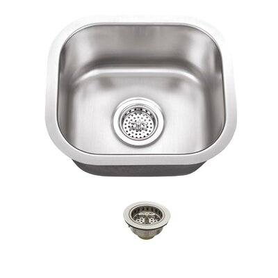 14.5 x 13 Single Bowl Undermount Bar Sink With Drain Assembly