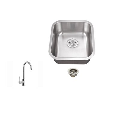16.13 x 18 18 Single Bowl Bar Sink with Faucet