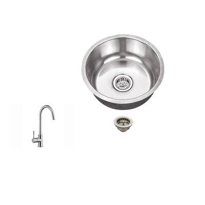 17.13 X 17.13 18 Gauge Single Bowl Round Bar Sink with Faucet Faucet Finish: Stainless Steel