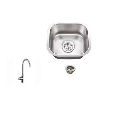 14.5 x 13 Single Bowl Bar Sink with Faucet Faucet Finish: Stainless Steel