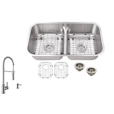 32.5 x 18.13 Double Bowl Undermount Kitchen Sink with Low Divider and Faucet Faucet Finish: Stainless Steel
