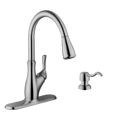Single Handle Gooseneck Kitchen Faucet with Soap Dispenser