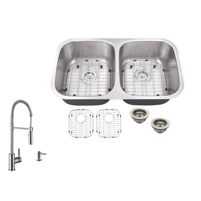 32.25 x 18.5 Double Bowl Undermount Kitchen Sink with Faucet Faucet Finish: Stainless Steel