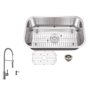 16 Gauge Stainless Steel 32 x 18 Drop-In Kitchen Sink with Faucet Faucet Finish: Brushed Nickel