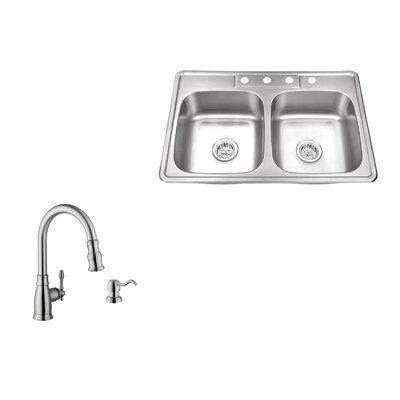 33 x 22 Double Bowl Drop-In Stainless Steel Kitchen Sink with Faucet Faucet Finish: Stainless Steel