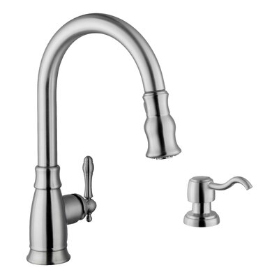 Single Handle Arc Kitchen Faucet with Soap Dispenser