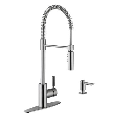 Pull Out Single Handle Kitchen Faucet Faucet Finish: Stainless Steel