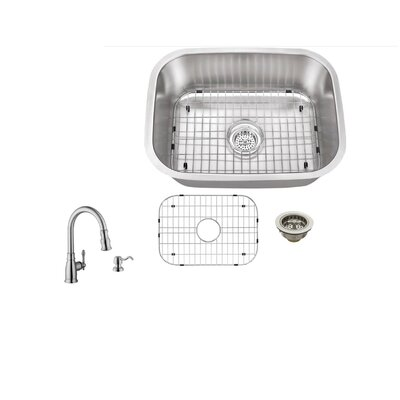 23.5 x 17.75 Single Bowl Undermount Stainless Steel Kitchen Sink with Faucet Faucet Finish: Stainless Steel