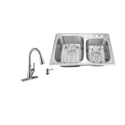 33.13 x 22 Double Bowl Drop-In Kitchen Sink with Faucet Faucet Finish: Stainless Steel