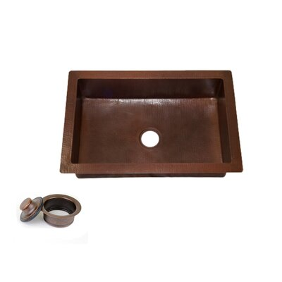 33 x 22 Copper Kitchen Sink Single Bowl with 3.5 Disposal Drain