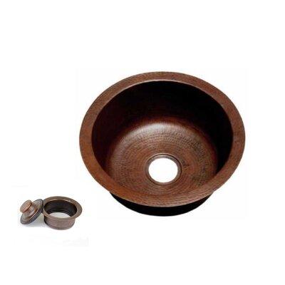 18 x 18 Copper Round Kitchen/Bar Sink with 3.5 Disposal Drain