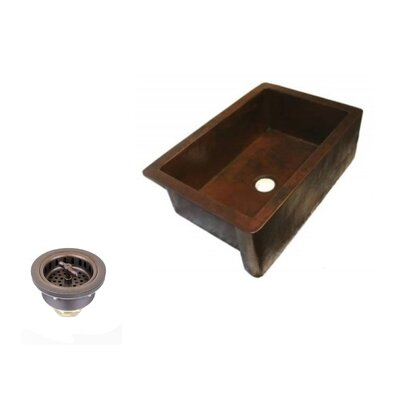33 x 22 Copper Apron Front Kitchen Sink with Drain