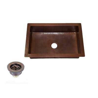 33 x 22 Copper Kitchen Sink Single Bowl with 3.5 Regular Drain