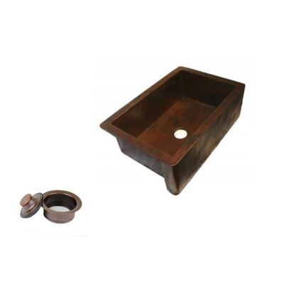 33 x 22 Copper Apron Front Kitchen Sink Single Bowl with 3.5 Disposal Drain