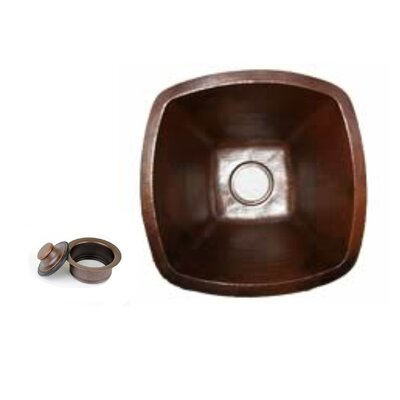 18 x 18 Copper Square Kitchen/Bar Sink with 3.5 Disposal Drain