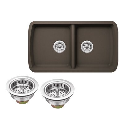 Quartz 33.75 x 18.94 Double Basin Undermount Kitchen Sink with Twist and Lock Strainer Finish: Mocha Brown