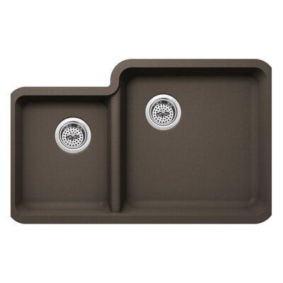 20.75 x 33 Quartz Double Bowl Kitchen Sink Finish: Mocha Brown
