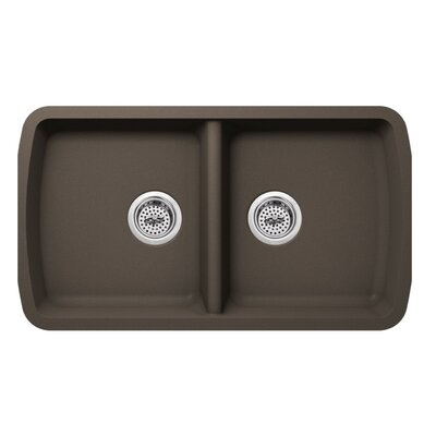 18.94 x 33.75 Quartz Double Bowl Kitchen Sink Finish: Mocha Brown