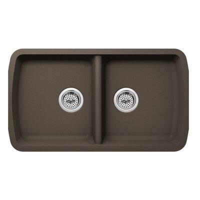 18.94 x 33.75 Quartz Double Bowl Kitchen Sink Finish: Mocha Brown