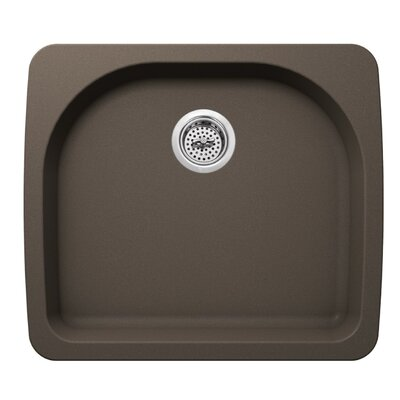 25 x 22 Quartz Single Bowl Kitchen Sink Finish: Mocha Brown