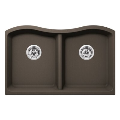 32.5 x 20 Quartz Double Bowl Kitchen Sink Finish: Mocha Brown
