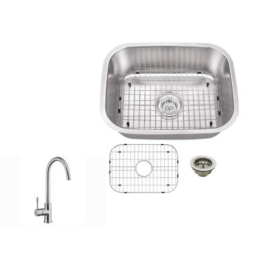 21.5 x 16 Single Bowl Kitchen Sink with Faucet Faucet Finish: Stainless Steel