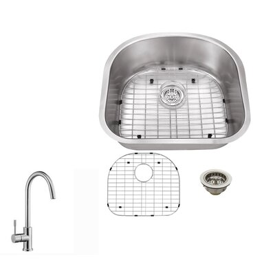 23.25 x 20.88 Single Bowl Kitchen Sink with Faucet