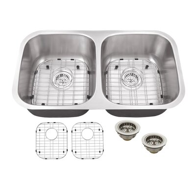 32.25 x 18.5 Double Bowl Kitchen Sink