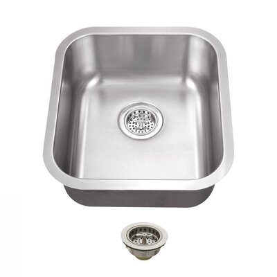 16.13 x 18 Single Bowl Undermount Bar Sink With Drain Assembly