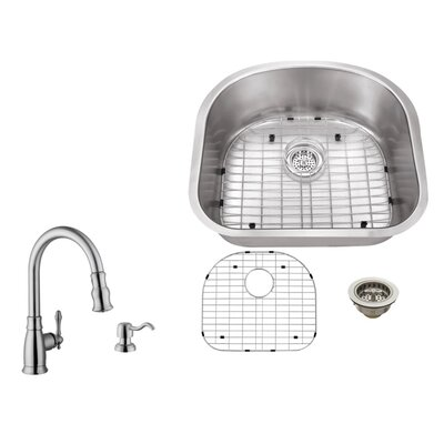 23.25 x 21 Single Bowl Undermount Kitchen Sink with Faucet