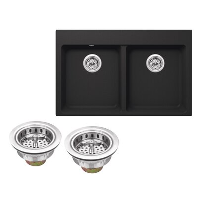 33 x 22 Quartz Double Bowl Kitchen Sink with Twist and Lock Strainer Finish: Onyx Black