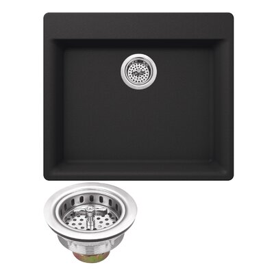 23.62 x 20.86 Quartz Single Bowl Kitchen Sink with Twist and Lock Strainer Finish: Onyx Black