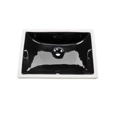 Glazed Porcelain Rectangular Undermount Bathroom Sink with Overflow Sink Finish: Black