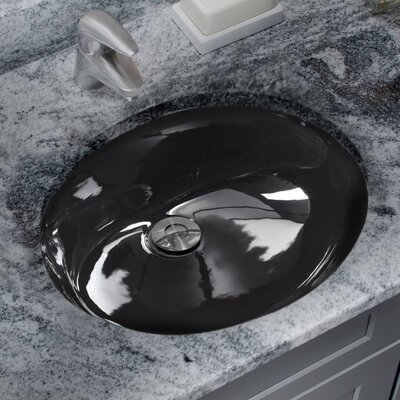 Glazed Oval Undermount Bathroom Sink with Overflow Sink Finish: Black