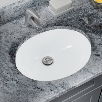 Glazed Oval Undermount Bathroom Sink with Overflow Sink Finish: White