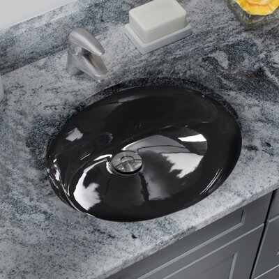Glazed Vitreous China Oval Undermount Bathroom Sink with Overflow Sink Finish: Black