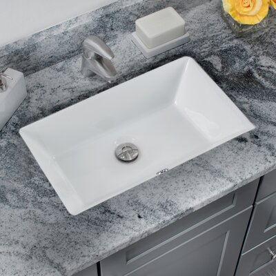 Glazed Vitreous China Rectangular Undermount Bathroom Sink with Overflow Sink Finish: White