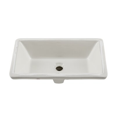Glazed Rectangular Undermount Bathroom Sink with Overflow Sink Finish: Biscuit