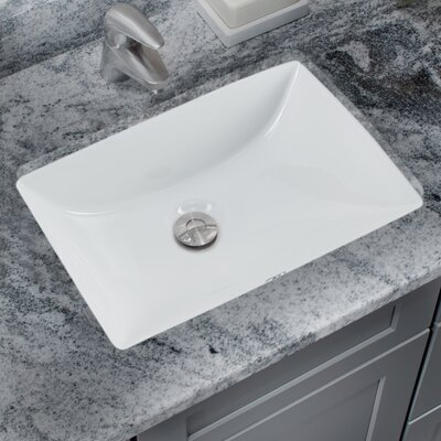 Glazed Rectangular Undermount Bathroom Sink with Overflow Sink Finish: White
