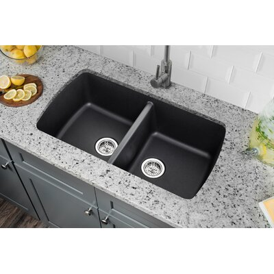18.94 x 33.75 Quartz Double Bowl Kitchen Sink Finish: Onyx Black