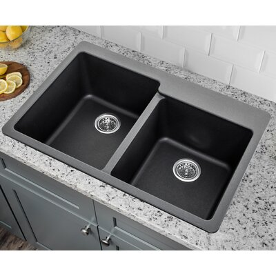 33 x 22 Double Bowl Kitchen sink Finish: Onyx Black