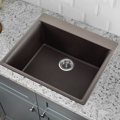 23.62 x 20.86 Quartz Single Bowl Kitchen Sink with Twist and Lock Strainer Finish: Mocha Brown