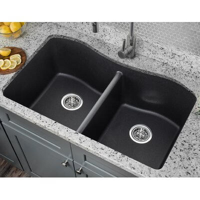 32.5 x 20 Quartz Double Bowl Kitchen Sink Finish: Onyx Black