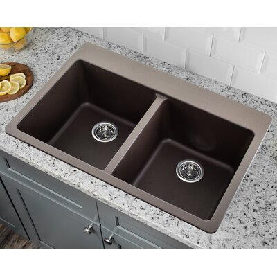 33 x 22 Quartz Double Bowl Kitchen Sink with Twist and Lock Strainer Finish: Mocha Brown