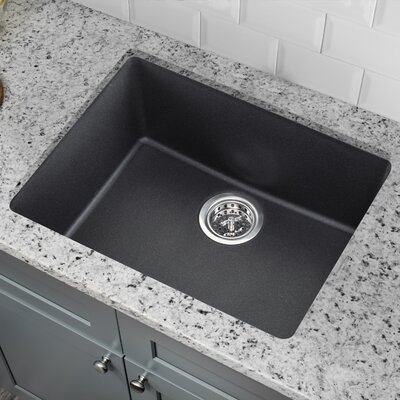 21.65 x 16.92 Quartz Single Bowl Kitchen Sink Finish: Onyx Black